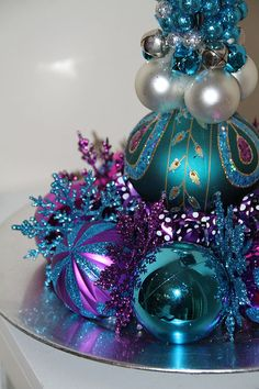 Unique Christmas Centerpiece - Purple & Turquoise Holiday Decoration #bestofEtsy #etsymnt
