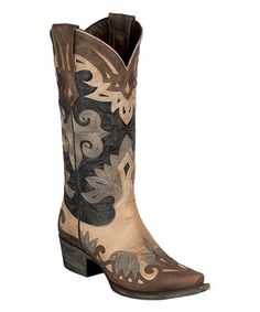 Look what I found on #zulily! Brown & Tan Maggie Leather Cowboy Boot by Lane Boots #zulilyfinds
