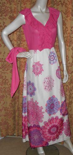 1970s Pink Ruffle Maxi Dress by NostalgicVintageUK on Etsy