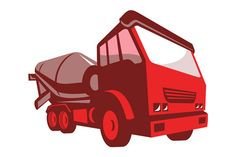 vector illustration of a construction cement truck lorry viewed from the front done in retro style on isolated white background. The zipped file includes editable vector EPS, hi-res JPG and
