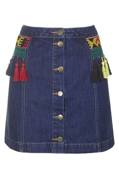 Button Front Denim Skirt By Native Rose