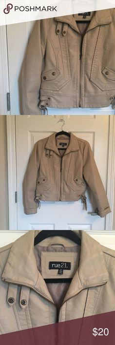 Tan Faux Leather Motorcycle Jacket Fun faux leather jacket! The taupe color makes it versatile, you can easily throw it over any outfit! Jackets & Coats