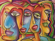 Four Faces   acryl op canvas   60 x 80  Prijs 100 €