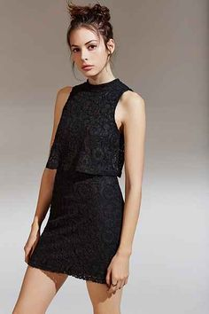 Cooperative Lace Mock-Neck Twofer Dress - Urban Outfitters Black Dress  Outfits 49693765d