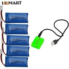 UUMART 5PCS 3.7V 500mAh Battery With Charger For Hubsan X4 H107 H107L H107C H107D V252 JXD385 Syma x11