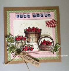 Basket of Wishes, Stampin' Up! - FARM FRESH strawberries - Thinking of you card