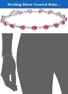 """Sterling Silver Created Ruby Pear Shape with Created White Sapphire Fashion Bracelet, 7.5"""". Fashion Bracelet. Ruby is July's Birthstone. Imported."""