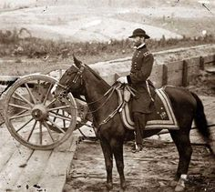 Atlanta, Georgia General William T. Sherman on horseback at Federal Fort No. 7, 1864