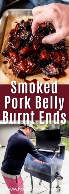 Smoked Pork Belly Burnt Ends are irresistible, juicy bites of mouthwatering meat (the same kind used to make bacon) that is rubbed in spices, infused with smoky flavor, and tossed in a fabulous barbecue sauce. Eat them as an appetizer by spearing with to Smoked Pork Shoulder, Bbq Pork Ribs, Smoked Pulled Pork, Pork Belly Smoked, Pork Loin, Pork Belly Recipes, Rib Recipes, Pork Belly Bacon Recipe, Pellet Grill Recipes