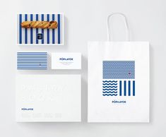 """Poplavok Branding by Ira Smolikova Classic marine style + a little bit of Russian floral theme. Branding for restaurant on the water """"Poplavok"""" / fishing float in English. Food Branding, Restaurant Branding, Brand Identity Design, Branding Design, Logo Design, Branding Materials, Nautical Design, Design Graphique, Brand Packaging"""