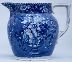 Blue and White Transferware pitcher....
