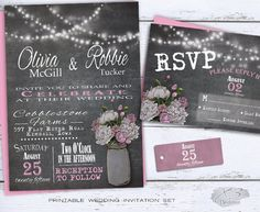Mason Jar Chalkboard Wedding Invitation Set, Rustic Country Wedding Invite, Pink & White Peonies, Printable DIY String Light Barn Wedding by X3designs - $45.00