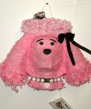 Pink French poodle pinata