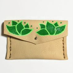 green flower leather