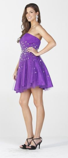 Short Purple Party Dress Formal Jewel Top Strapless Mesh Skirt