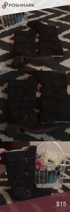 Boots!!! Adjustable at each buckle for the most comfortable fit. Dark grey color. Small square heel. Fuzzy inside for the most warmth! Only worn a few times. Shoes Winter & Rain Boots