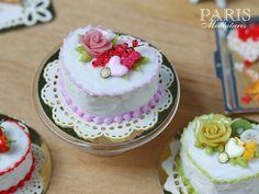 ♡ ♡  Pink Rose de San Valentín y Grosella torta - comida en miniatura escala 1/12