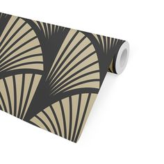FAN GEO BLACK & GOLD Peel and Stick Wallpaper By Becky Bailey - 2ft x 16ft