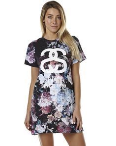 STUSSY ARRANGEMENTS WOMENS TEE DRESS - MULTI