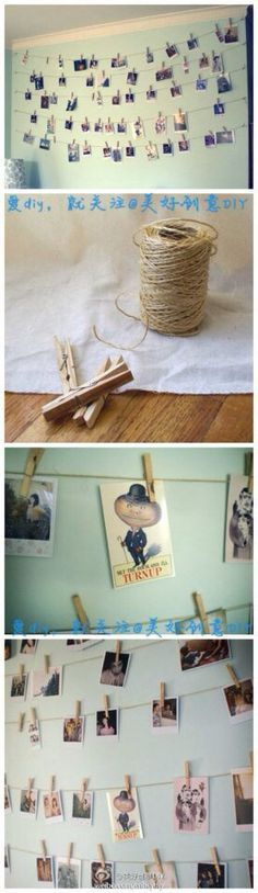 Place and clip photo on string that is hung to make a an amazing and cute craft!
