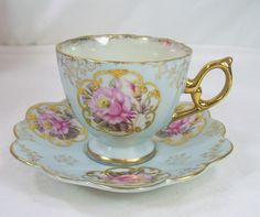 Japanese Porcelain (Nippon) —   Tea Cup and Saucer 'Blue Luster Pink Cottage Roses', 1950's  (1500x1253)