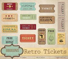 Retro Tickets Clipart - Vintage Show, Circus, Cinema, Theatre, Movie and Entertainment Clip Art