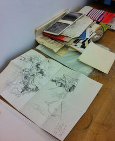 Exhibition Road Drawing Resident: Liam O'Connor,  April 2014 – April 2015, some sketches on Liam's workspace © Victoria and Albert Museum, London
