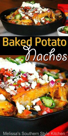 Add some fun to your nacho menu with these crazy delicious Baked Potato Nachos Mexican Potatoes, Italian Potatoes, Baked Nachos, Potato Nachos, Seasoned Potato Wedges, Potato Wedges Baked, Fried Potatoes Recipe, Best Potato Recipes, Appetizer Recipes