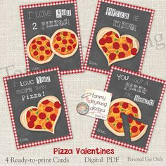Pizza Valentines Cards for Kids Funny Valentines Teen