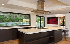Kitchen with tray ceiling.