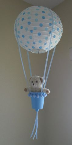 Blue Polka Dots Hot Air Balloon by RainbowCuties on Etsy Baby Shower Deco, Baby Shower Crafts, Baby Shower Balloons, Baby Shower Parties, Baby Boy Shower, Hot Air Balloon Centerpieces, Baby Shower Centerpieces, Mesas Para Baby Shower, Blue Polka Dots