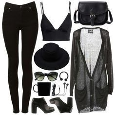 Nu goth fashion( luv the outfit - excluding the hat and shoes)