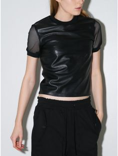 Jonathan Simkhai stretch leather mesh tee black