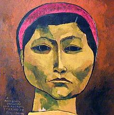 """Rigoberta Menchu"" - Oswaldo Guayasamin. Oil on Canvas. 1996"