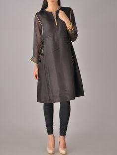 Buy Black Golden Kota Silk Tassel Tunic Apparel Tunics & Kurtas Online at Jaypore.com