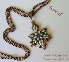 Maple Leaf pendant intermediate skill level tutorial on Etsy using Freeform Beading skills and make from superduo/twin beads & seed beads by dshcs