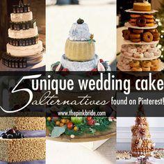 Five Unique Wedding Cake Alternatives, as seen on The Pink Bride www.thepinkbride.com {Unique Wedding Cake Alternatives}