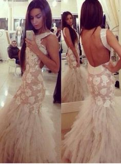 $189--Vestido De Fiesta 2014 New Sexy Sleeveless Lace Appliques Sequined Tulle Mermaid Prom Dresses Long Open Back Party Dress