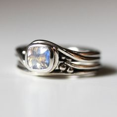 Moonstone engagement ring rainbow moonstone ring by metalicious