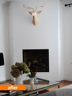 Before & After: Corner Fireplace Update — A Schematic Life - fireplace Corner Gas Fireplace, Fireplace Update, Fireplace Cover, Concrete Fireplace, Home Fireplace, Faux Fireplace, Marble Fireplaces, Fireplace Remodel, Modern Fireplace