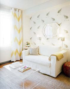 michelle adam's (of @Lonny Magazine) old apt. LOVE the wall paper and touches of yellow.
