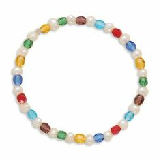 Sterling Silver 6 Inch Multicolor Glass and Cultured Freshwater Pearl Stretch Bracelet - JewelryWeb JewelryWeb. $23.30. Save 50% Off!