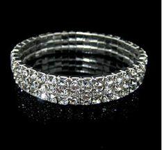 3 Tier Crystal Stretch Bracelet For Wedding or Prom