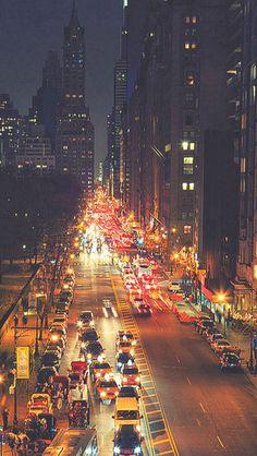 Busy New York Street Night Traffic #iPhone #5s #wallpaper