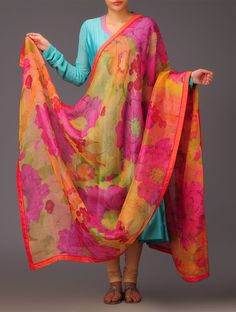 Buy Saffron Fuchsia Floral Silk Dupatta Accessories Dupattas Vivid Vibrance Colorful Apparel by Priti Prashant and Bejeweled Headgears Indian Suits, Indian Attire, Indian Ethnic Wear, India Fashion, Ethnic Fashion, Asian Fashion, Latest Fashion, Salwar Designs, Blouse Designs
