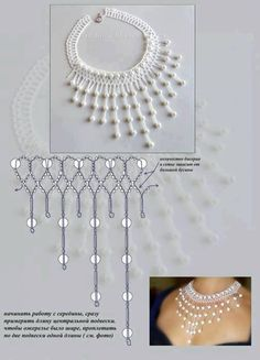 Beading Tutorials, Home Crafts, Jewelry Crafts, Beadwork, Collars, Beads, Neck Chain, Bead Jewelry, Pearl Embroidery