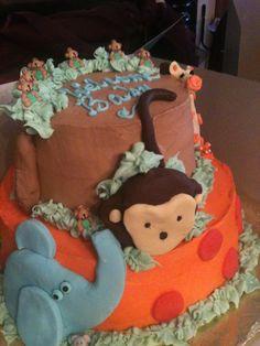 Trifles' Monkey/Elephant/Giraffe Baby Shower Cake