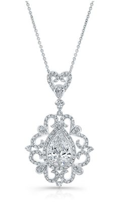 A beautiful Forevermark by Natalie K pear diamond necklace with heart-shaped detail.