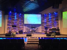 Glowing stage front and pallet walls