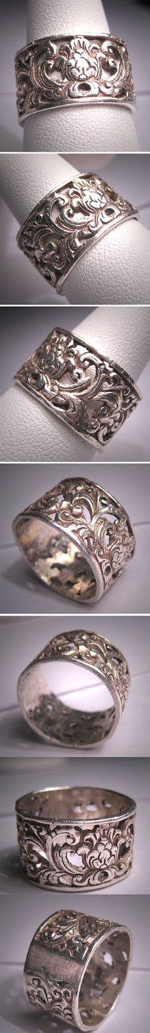 I love this.  Antique Victorian Wedding Band Vintage Ornate Filigree. $295.00, via Etsy. Antique Rings, Rare Antique, Groom Ring, Wild Style, Wedding Ring Bands, Filigree, Jewelry Box, Victorian, Wedding Ideas